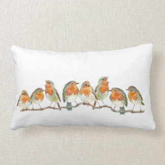 European red robin bird design. lumbar pillow