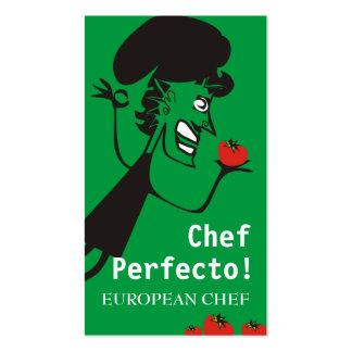 European retro tomato chef catering business cards