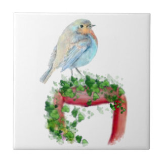 European Robin, Bird, Watercolor Bird, Nature Tile