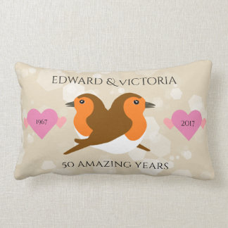 European Robins: 50 Years Wedding Anniversary Lumbar Pillow
