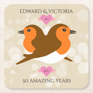 European Robins: 50 Years Wedding Anniversary Square Paper Coaster