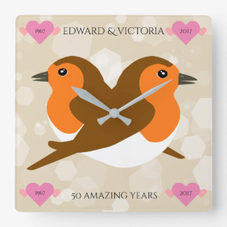 European Robins: 50 Years Wedding Anniversary Square Wall Clock