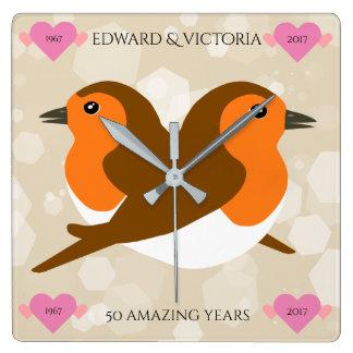 European Robins: 50 Years Wedding Anniversary Wallclock