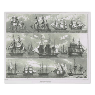 European ships of various functions poster