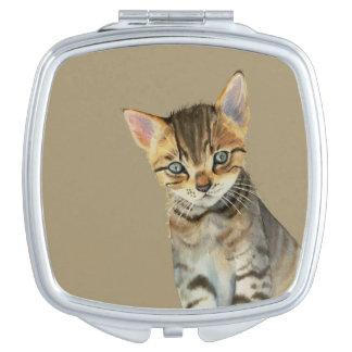European Shorthair Kitten Watercolor Painting Makeup Mirror