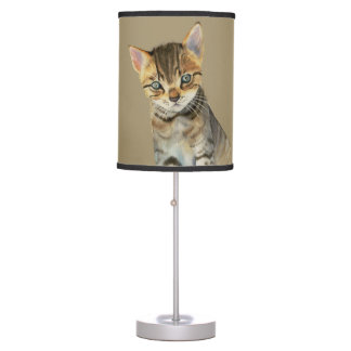 European Shorthair Kitten Watercolor Painting Table Lamp
