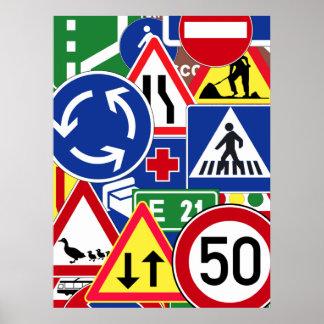 European Traffic Signs Collage