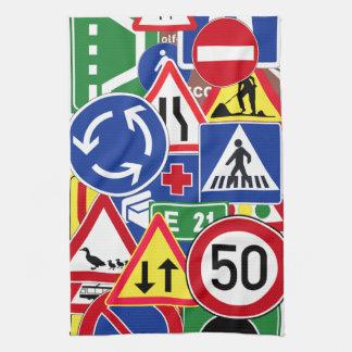 European Traffic Signs Collage Kitchen Towel