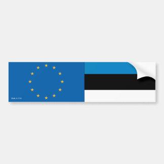 European Union & Estonian Flags Bumper Sticker