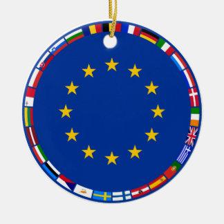 European Union Flags Round Ceramic Ornament