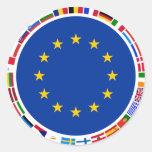 European Union Flags Round Stickers