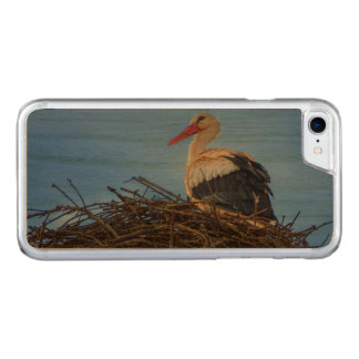 European white stork, ciconia, in the nest carved iPhone 8/7 case