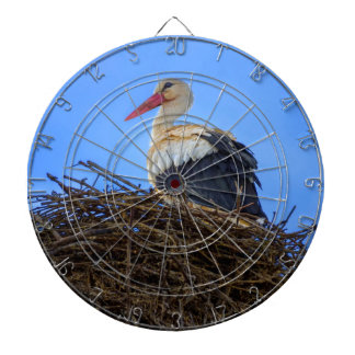 European white stork, ciconia, in the nest dartboard