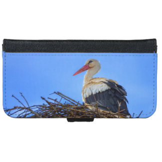 European white stork, ciconia, in the nest iPhone 6 wallet case