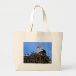 European white stork, ciconia, in the nest large tote bag