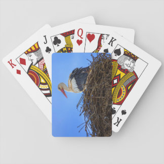 European white stork, ciconia, in the nest playing cards