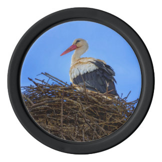 European white stork, ciconia, in the nest set of poker chips