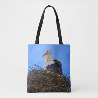 European white stork, ciconia, in the nest tote bag