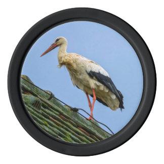 European white stork, ciconia poker chip set
