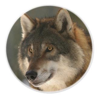 European Wolf Ceramic Knob