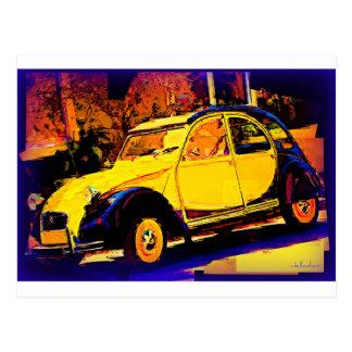 European Yellow Classic Car Postcard