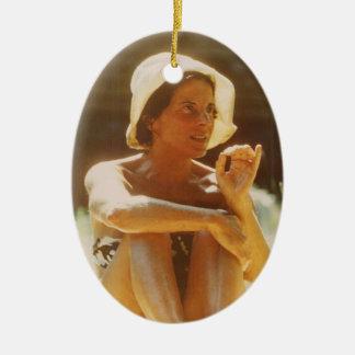 Eva Makes a Point Ceramic Ornament
