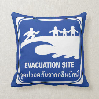 Evacuation Site Sign, Thailand Throw Pillow
