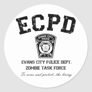 Evans City Police Department Zombie Task Force Round Sticker