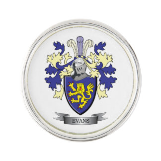 Evans Family Crest Coat of Arms Lapel Pin