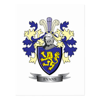 Evans Family Crest Coat of Arms Postcard