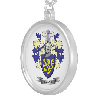Evans Family Crest Coat of Arms Silver Plated Necklace