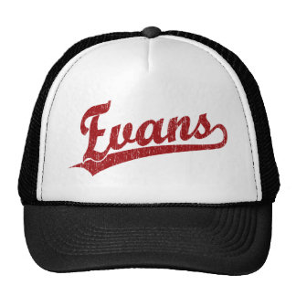 Evans script logo in red trucker hat