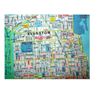 EVANSTON, IL Vintage Map Postcard