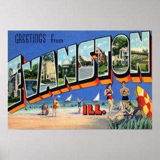 Evanston Illinois Large Letter Poster