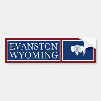 Evanston Wyoming State Flag Bumper Sticker