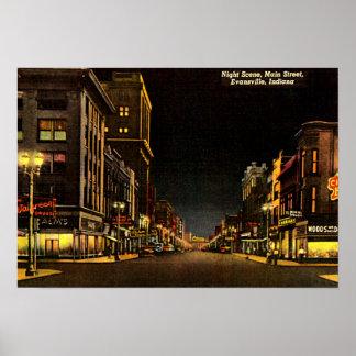 Evansville, Indiana Night Scene Main Street Print