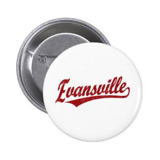 Evansville script logo  in red 2 inch round button