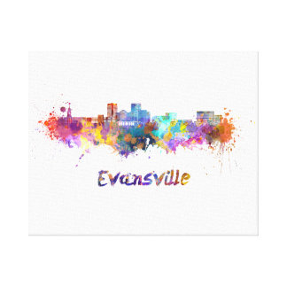 Evansville skyline in watercolor canvas print