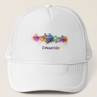 Evansville skyline in watercolor trucker hat