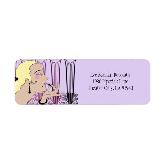 Eve, Art Deco Lady in Lavender and Wine Return Address Label