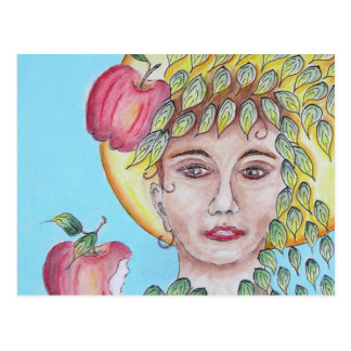 Eve with apples postcard