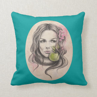 Eve|Woman portrait with apple Throw pillow
