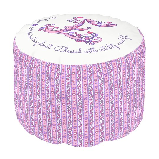 Evelyne letter E monogram name meaning custom pouf