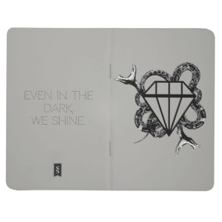 """even in the dark, we shine"" notebook in gray"