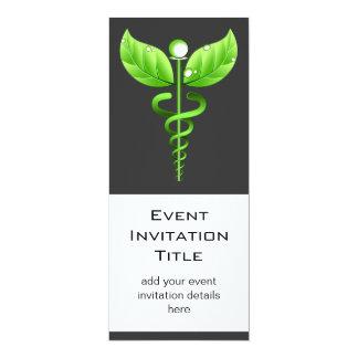 Événement holistique de médecine douce de caducée carton d'invitation  10,16 cm x 23,49 cm