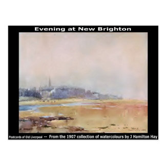 Evening at New Brighton, Wirral. Postcard