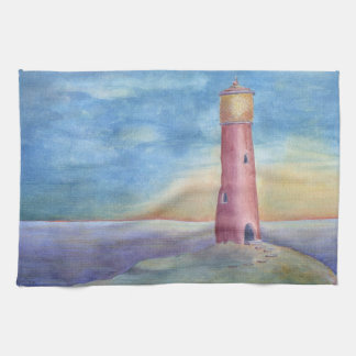 Evening at the lighthouse kitchen towel