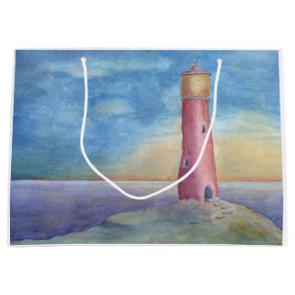 Evening at the lighthouse large gift bag