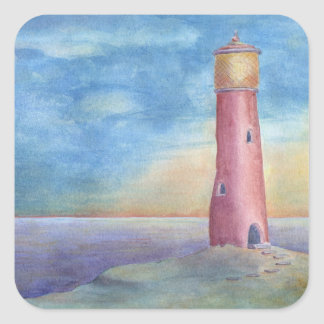 Evening at the lighthouse square sticker