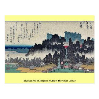 Evening bell at Ikegami by Ando, Hiroshige Ukiyoe Postcard